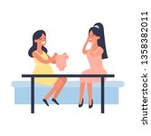 pregnant woman shows friend... | Shutterstock .eps vector #1358382011