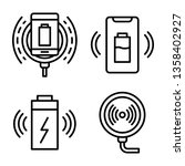 wireless charger icons set.... | Shutterstock .eps vector #1358402927