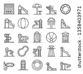 aquapark icons set. outline set ... | Shutterstock .eps vector #1358403971