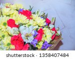 bouquet of chrysanthemums and... | Shutterstock . vector #1358407484