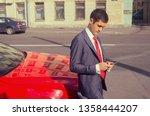 a smart business man writing a... | Shutterstock . vector #1358444207