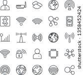 thin line icon set   antenna... | Shutterstock .eps vector #1358452424