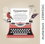vintage vector typewriter | Shutterstock .eps vector #135845261