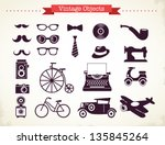 vintage hipster objects... | Shutterstock .eps vector #135845264