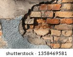 cracked concrete wall and... | Shutterstock . vector #1358469581
