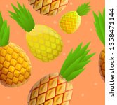 tasty pineapple pattern.... | Shutterstock .eps vector #1358471144