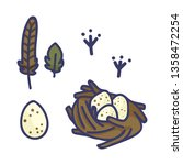 birds nest cartoon vector... | Shutterstock .eps vector #1358472254