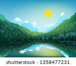 vector mountain landscape.... | Shutterstock .eps vector #1358477231