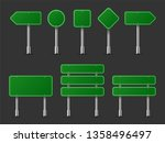 realistic traffic signs on... | Shutterstock . vector #1358496497