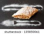 apple strudel on a slate board... | Shutterstock . vector #135850061
