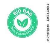 bio bag 100  compostable. round ... | Shutterstock .eps vector #1358522861