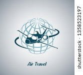 airliner flying around the... | Shutterstock . vector #1358523197
