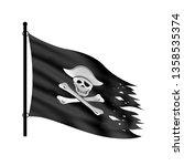 black piracy flag on a white... | Shutterstock . vector #1358535374