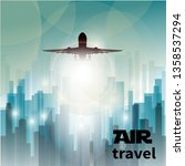 taking off airliner on abstract ... | Shutterstock . vector #1358537294