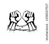 hands bound in barbed wire | Shutterstock . vector #1358537927