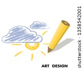 pencil drawing the sun in the... | Shutterstock . vector #1358542001