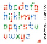 pixel colorful lower case... | Shutterstock .eps vector #135854729