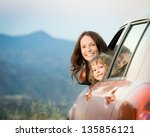 Happy Family Travel By Car In...