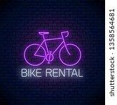bicycle rent glowing neon... | Shutterstock .eps vector #1358564681