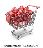 Red market shopping cart. Discount concept. 3D Isolated - stock photo