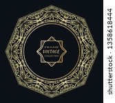 golden frame template with... | Shutterstock .eps vector #1358618444