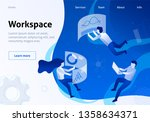 team metaphor workspace flat... | Shutterstock .eps vector #1358634371