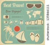 summer travel card in retro... | Shutterstock .eps vector #135866111
