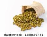 green mung beans in a sack... | Shutterstock . vector #1358698451