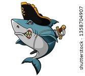 Cartoon Angry Pirate Shark...