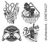 vintage monochrome barbershop... | Shutterstock .eps vector #1358734127