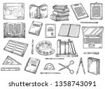 books and stationery sketches ... | Shutterstock .eps vector #1358743091