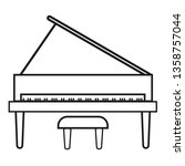 upright piano icon on white...