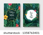 floral card set wedding... | Shutterstock .eps vector #1358763401