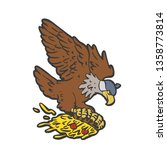 flying eagle holding a pizza  ... | Shutterstock .eps vector #1358773814