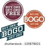 buy one get one free stamps | Shutterstock .eps vector #135878021