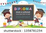 vector illustration of diploma... | Shutterstock .eps vector #1358781254