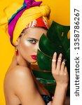 portrait of a fashionable woman ... | Shutterstock . vector #1358786267