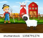 farmer with a sheep in front of ...   Shutterstock . vector #1358791274