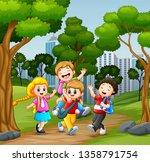 funny school children going to...   Shutterstock .eps vector #1358791754