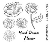 peony vector floral set with... | Shutterstock .eps vector #1358797781