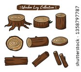 wood logs collection set for... | Shutterstock .eps vector #1358797787