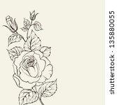 silhouette of rose. ... | Shutterstock . vector #135880055