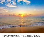 sunset into the sea with wave... | Shutterstock . vector #1358801237