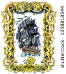 black ancient sailing ship in... | Shutterstock . vector #1358818544