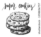 hand drawn stack of cookies... | Shutterstock .eps vector #1358836757
