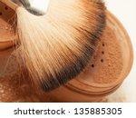 Face Powder And Brush. Macro