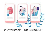 Stock vector hospital neurology department mobile app page onboard screen set intensive caring discovery and 1358885684