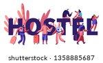 hostel for tourist banner....   Shutterstock .eps vector #1358885687