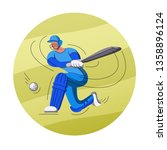 batsman playing cricket.... | Shutterstock .eps vector #1358896124