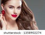red lips woman beautiful face... | Shutterstock . vector #1358902274